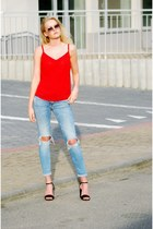 red second hand top - pull&bear jeans - Stradivarius heels