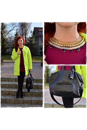 lime green Sheinside coat - black Aldo heels