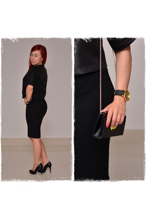 black Mohito bag - black prima moda heels - black Mohito top - black Orsay skirt