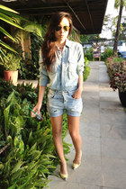 Zara shorts - H&M shirt - ray-ban sunglasses - Zara pumps
