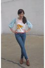 Jeggings-uniqlo-jeans-fringe-lowry-farm-clogs-uniqlo-t-shirt-red-no-brand-