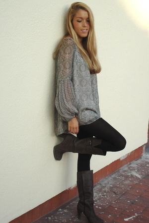 Zara blouse - H&M leggings - Zara boots