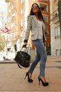 Black-aldo-shoes-black-aldo-purse-black-zara-blazer-blue-h-m-jeans-beige