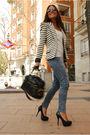 Black-aldo-shoes-black-aldo-purse-black-zara-blazer-blue-h-m-jeans-beige