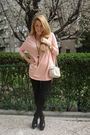 Pink-h-m-top-black-zara-shoes-black-zara-leggings-beige-bimba-lola-purse
