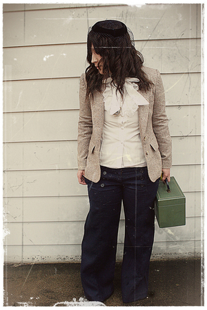 hat - blouse - blazer - pants - purse - necklace