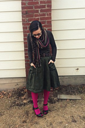 brown long sleeve Gap shirt - hot pink Walmart tights - wool scarf - olive green