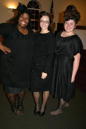 black unknown shirt - black knitted unknown skirt - black heels