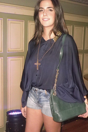 customized Zara shirt - vintage 70s Yves saint lauren bag