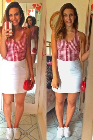 red leather Valentino bag - Primark shoes - white cotton Zara skirt