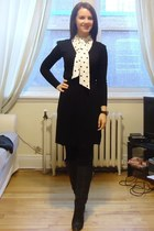 black Aldo boots - black wrap dress Old Navy dress - white Jacob blouse