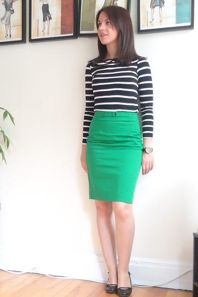 green kelly green Jacob skirt - black Jacob shirt - black Aldo wedges