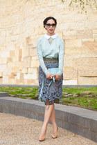 olive green Carven skirt - light blue Chloe bag