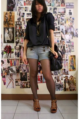 black thrifted shirt - light blue Kamiseta shorts - black unbranded stockings -