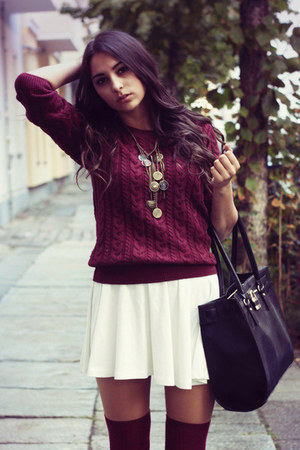 black warehouse bag - brick red knitted H&M sweater