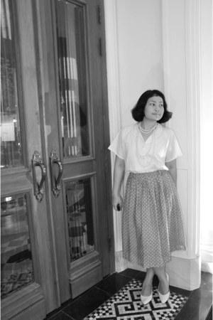 ivory vintage blouse - silver polka dots skirt - white heels