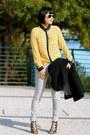 Black-wool-jcrew-coat-gray-gap-jeans-aviator-ray-ban-sunglasses
