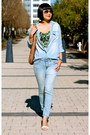 Light-blue-gap-jeans-denim-club-monaco-shirt-brown-gucci-bag