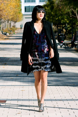 sparkle BCBG dress - black wool Jcrew coat - aviator ray-ban sunglasses