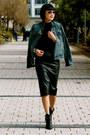 Aviator-ray-ban-sunglasses-black-tibi-boots-denim-madewel-jacket