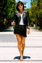 leather Club Monaco jacket - Guess shoes - fringe shorts Club Monaco shorts