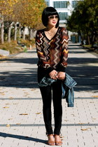 Missoni X Target top - denim madewell jacket - brown Dolce Vita sandals