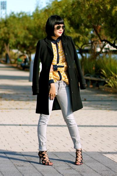 black wool Jcrew coat - gray Gap jeans - aviator ray-ban sunglasses