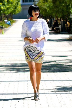 beaded Zara skirt - white Zara sweater - aviator ray-ban sunglasses