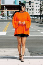 orange Zara sweater - black Club Monaco shorts - aviator ray-ban sunglasses