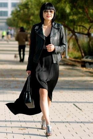 leather Club Monaco jacket - black silk BCBG dress - BCBG heels
