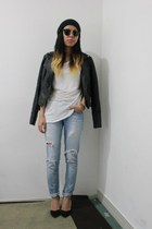 distressed Urban Outfitters jeans - leather Topshop jacket