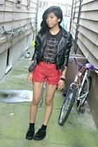 highwaisted BRANDYMELVILLE shorts - leather H&M jacket