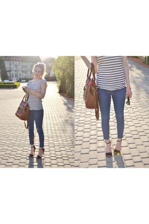 Zara jeans - dark brown Aldo bag - Zara heels - H&M top
