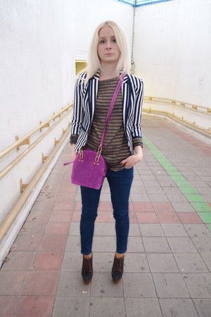 navy H&M blazer - brown asos boots - hot pink Topshop bag - navy Zara pants