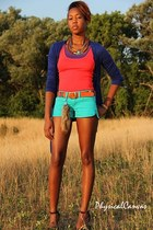 sky blue denim Mossimo shorts - navy cotton Mossimo cardigan - light orange bead