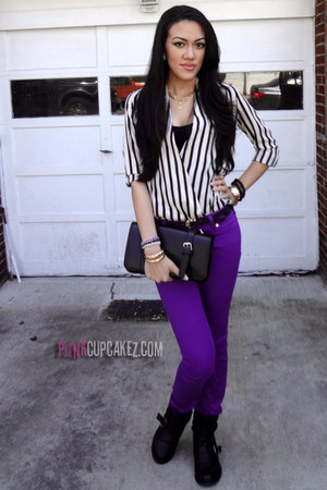black chicnova bag - purple Forever21 pants - Sheinside blouse