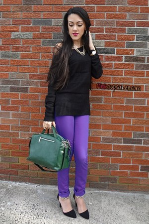 black Aeropostale sweater - deep purple Forever 21 jeans