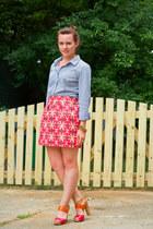 Nine West heels - JCrew blouse - JCrew skirt - Forever 21 bracelet