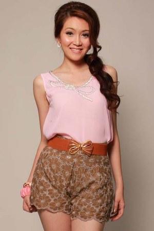 olive green pinkreebonz shorts - bubble gum pinkreebonz blouse - tawny pinkreebo