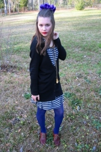Old Navy dress - Gap sweater - Express tights - thrifted shoes - vintage necklac