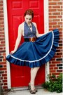 Navy-ruffled-vintage-skirt-navy-halter-vintage-top