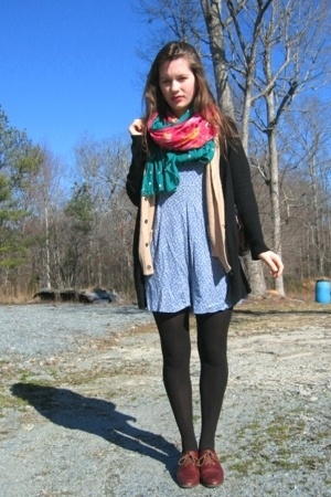 Savation Army dress - Goodwill vest - Gap sweater - Dollar Tree tights - thrifte