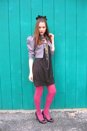 Bon Ton dress - jacket - tights - Jessica Simpson shoes - hat - necklace