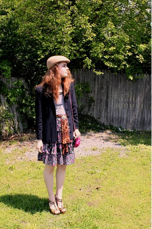 nude vintage hat - navy vintage jacket - bronze leopard-print Forever21 heels - 