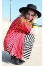 Black-forever21-boots-black-striped-forever21-dress-black-vintage-hat-red-