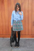 asos wedges - boheme dress - MNG shirt - Crepier bag