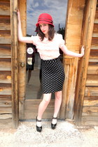 black polka dot H&M skirt - red Target hat