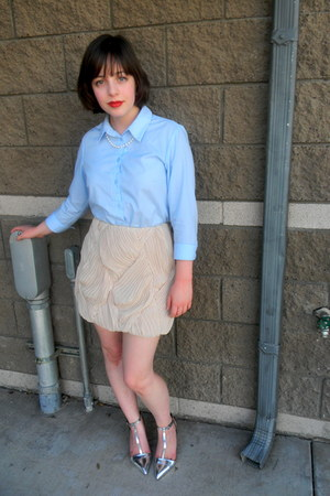 light blue button down asos shirt - silver t-bar Zara heels - beige cameo skirt