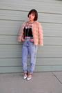 Light-blue-acid-wash-thrifted-jeans-light-pink-faux-fur-target-jacket