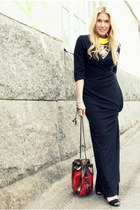 black Filippa K dress - ruby red vintage bag - yellow DIY necklace